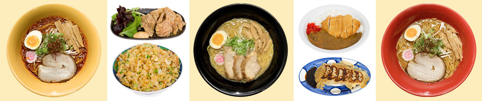 Aka Oni Ramen, Kara-age, Fried Rice, Miso Tonkotsu Ramen, Curry Pork Cutlet, Gyoza, Thai Shoyu Ramen